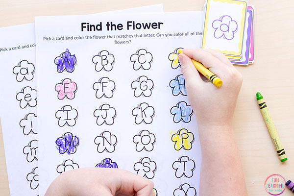 A spring flower alphabet activity for preschool or kindergarten.