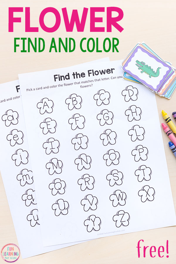 This flower find and color printable alphabet activities are perfect for spring! Perfect for literacy centers!