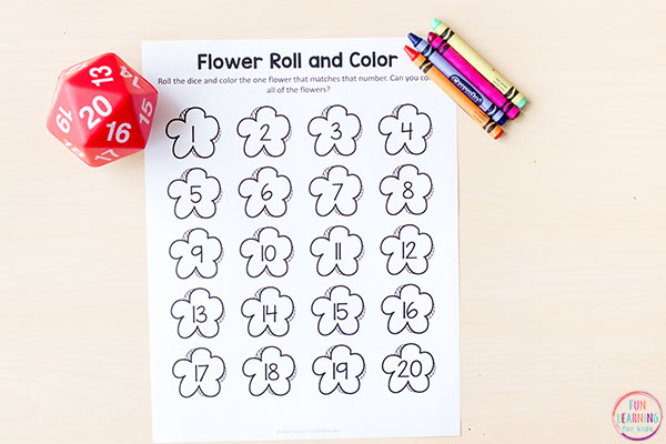 A fun flower roll and cover game for spring math centers or morning work tubs.