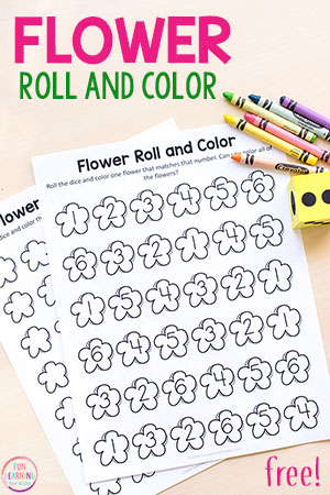 Flower Roll and Color Activity
