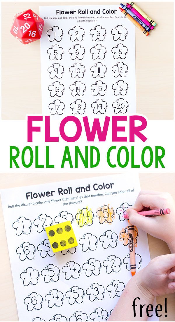 Flower roll and color game for kids to play this spring!