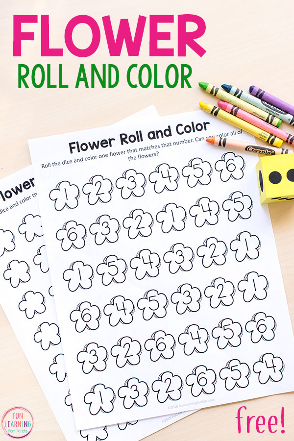 This flower roll and color math activity is a fun way for kids to learn numbers 1-20. Perfect for spring math centers!
