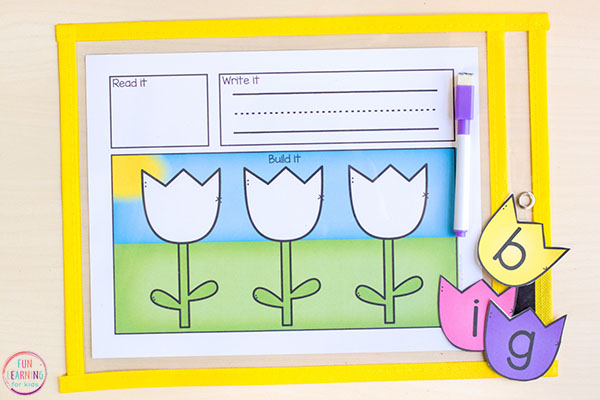Fun spring literacy center idea that teaches kids phonics and spelling.