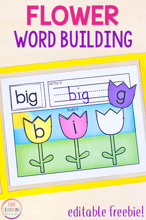 Editable Flower Word Building Activity for Spring