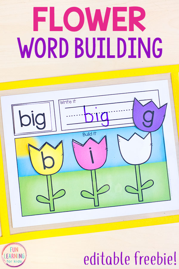 This flower word building activity makes learning phonics and spelling fun and hands-on this spring! Your kids will love these Read it, Write it, Build it mats.