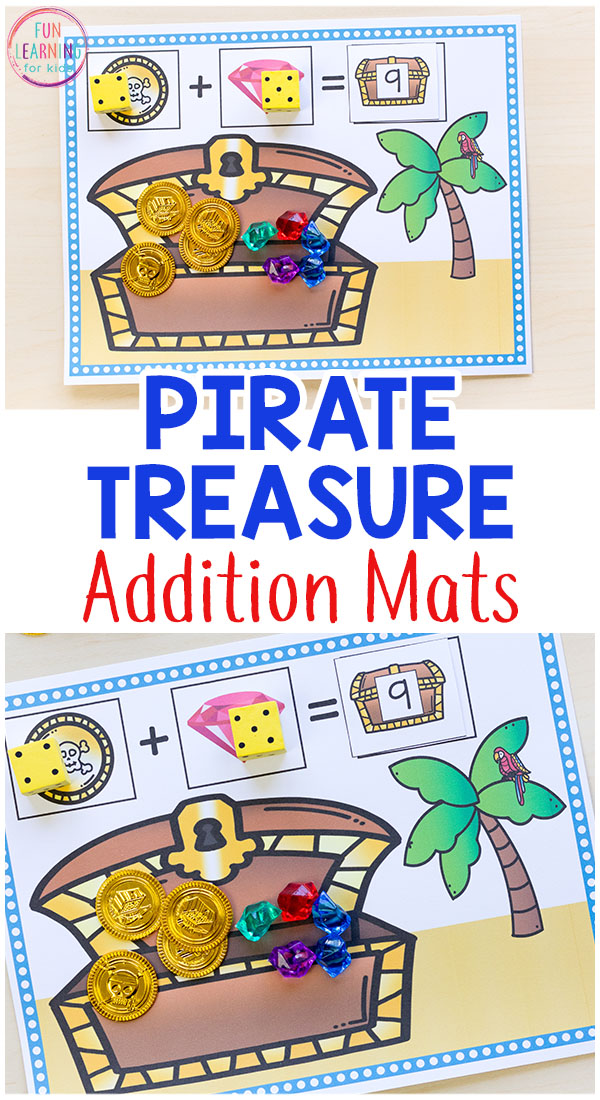 These pirate treasure addition mats make learning math hands-on and engaging for kids!
