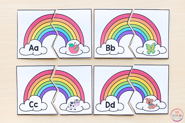 A fun rainbow alphabet activity for preschool or kindergarten.