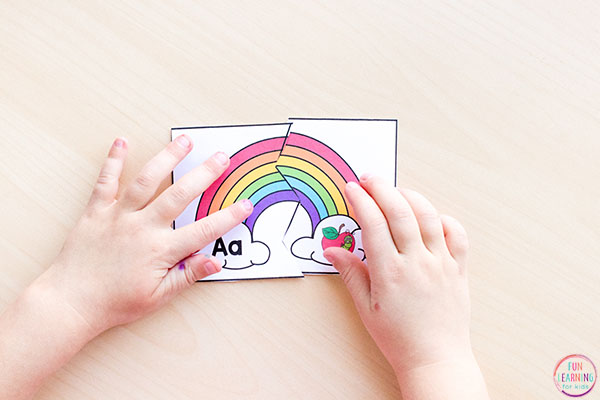 Rainbow literacy center idea for kindergarten or preschool.