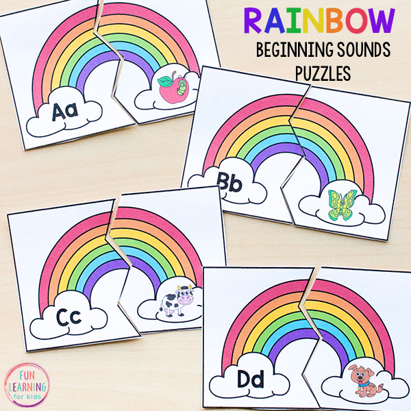 Rainbow beginning sounds puzzles make learning letters a hands-on experience this spring!