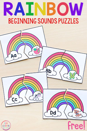 Rainbow alphabet puzzles for rainbow theme literacy centers.
