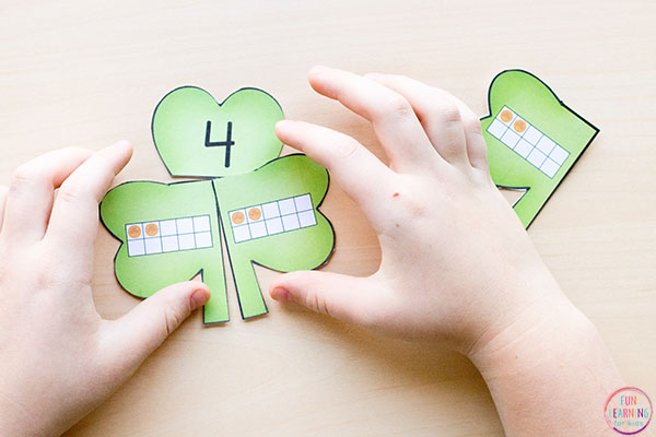 Teaching number bonds with a fun St. Patrick's Day math activity.
