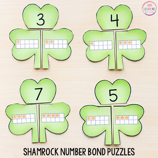 This fun St. Patrick's Day math activity is perfect for kindergarten or first grade.