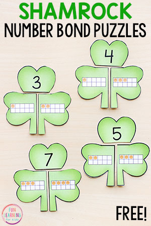 Make math fun with these printable shamrock number bond puzzles! Use this math activity in your St. Patrick's Day math centers!