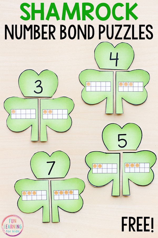 graphic about Number Puzzles Printable known as Shamrock Variety Bond Puzzles