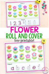 Spring flower roll and cover mats for math and literacy centers.