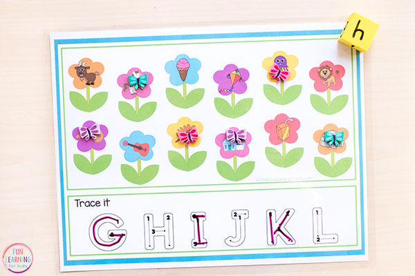 Spring flowers alphabet activity.