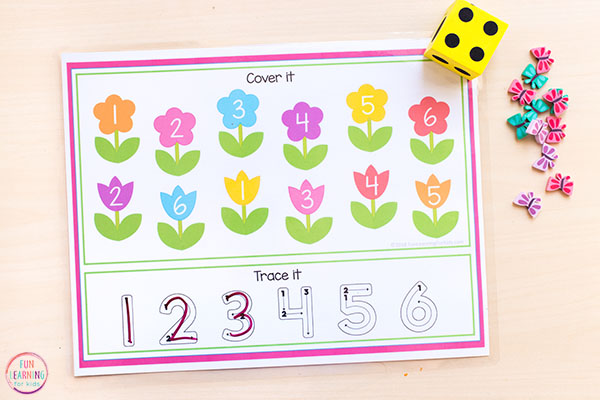 Spring flowers numbers sense activity that is perfect for math centers.
