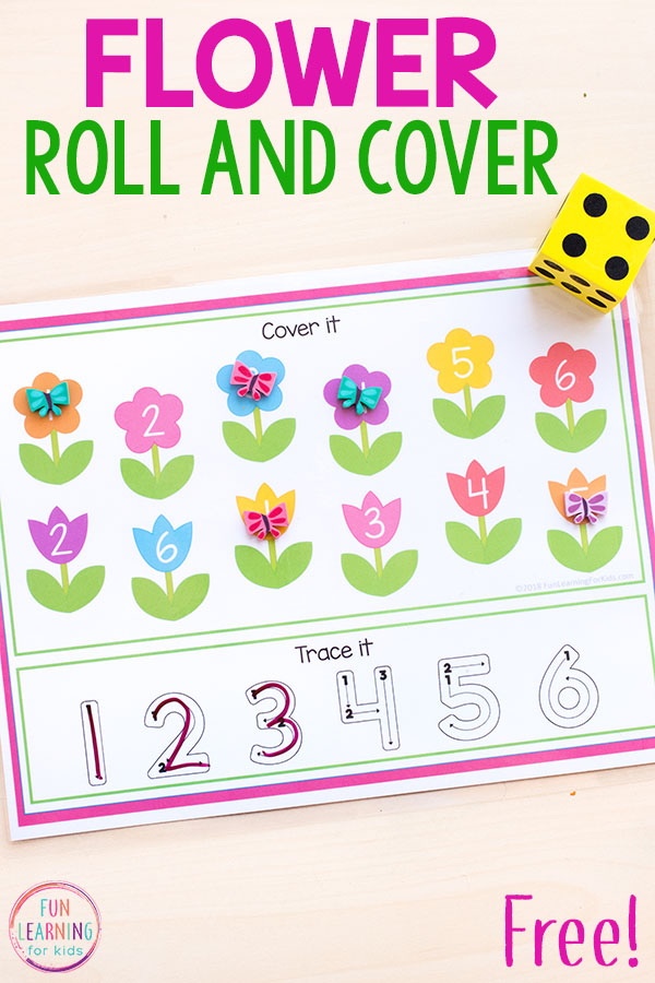 Your kids will love these spring flowers roll and cover mats. This numbers version is perfect for spring math centers in pre-k or kindergarten.