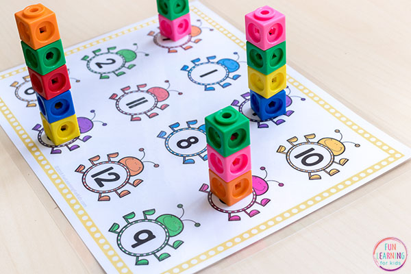 Tower counting mats with a bug theme.