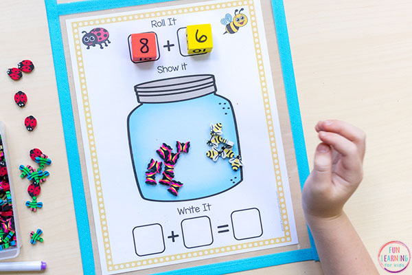 Bug theme math center game.