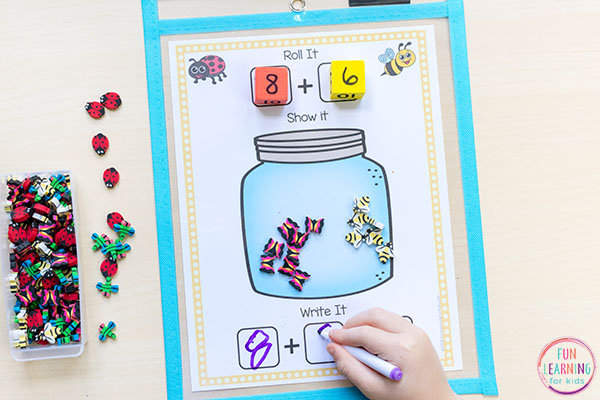 Insect theme math center game for kindergarten and first grade.