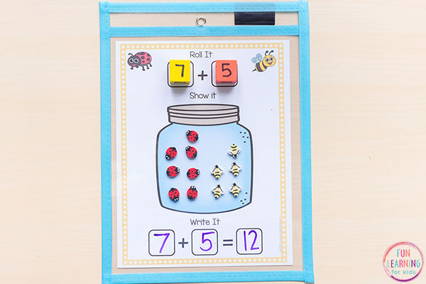 Insect theme addition and subtraction activity.
