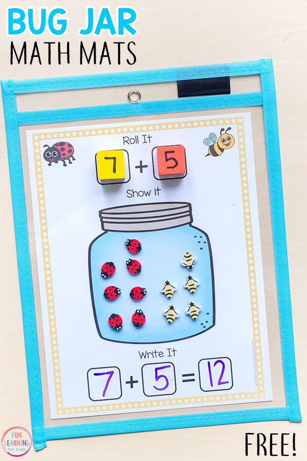 These bug jar addition and subtraction mats are perfect for your insect theme or spring theme math and literacy centers!