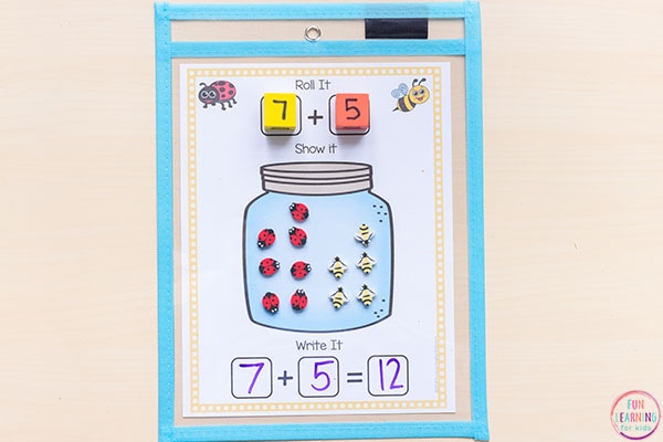Bug jar addition and subtraction mats.