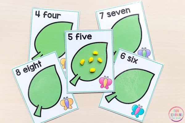 Butterfly play dough counting mats.