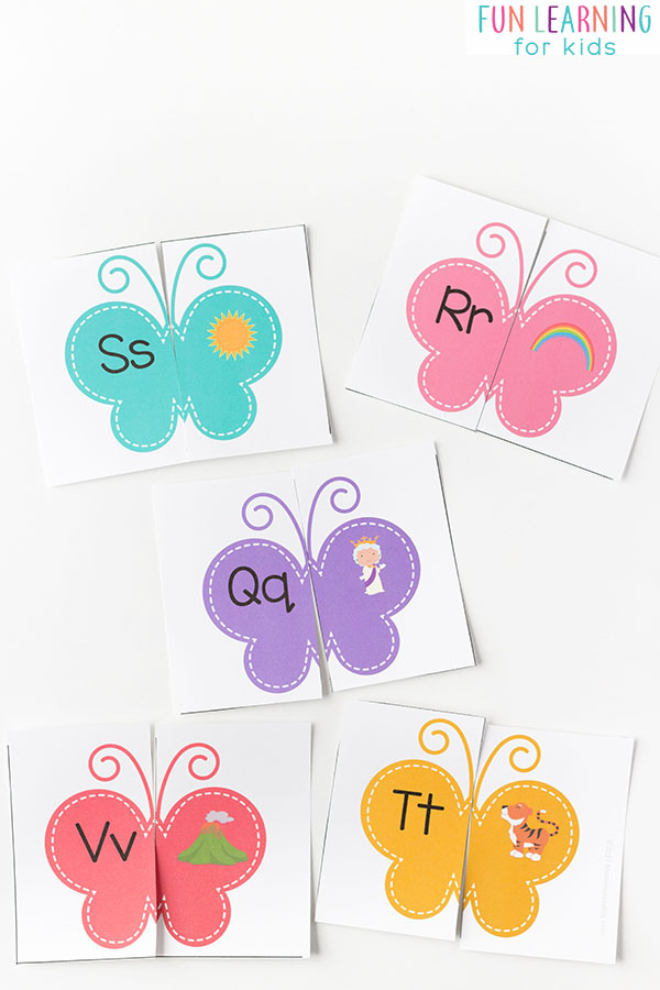 Butterfly letter sounds matching puzzles.