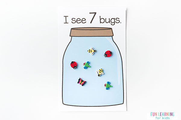 Bug jar counting cards for insect theme math centers.