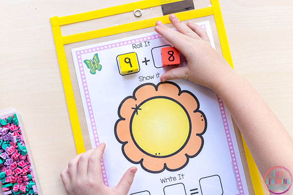 Flower math activity that teaches addition and subtraction.