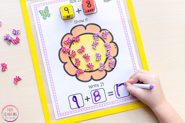 Spring flower addition and subtraction activity for firs grade and kindergarten.