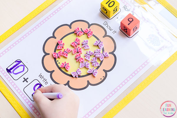Flower math activity for spring.