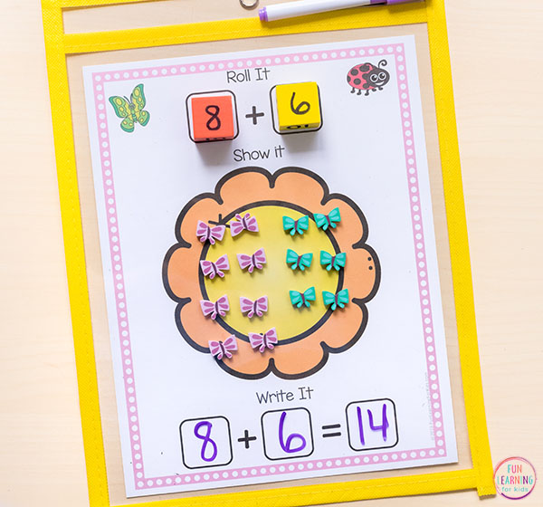 Spring flowers math activity for kindergarten and first grade.