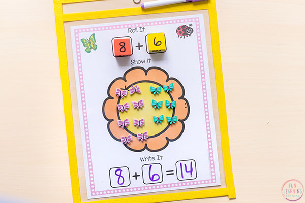 Flower addition and subtraction mats.