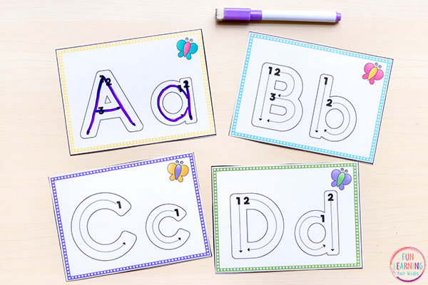 Dry-erase letter formation cards.
