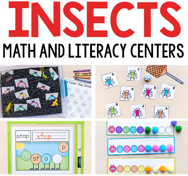 Insect theme math and literacy centers.