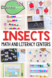Insect theme math centers and literacy centers for preschool, pre-K and Kindergarten.