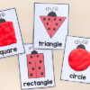 Ladybug shape play dough mats for learnings shapes in preschool.