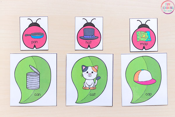 Ladybug rhyming activity for literacy centers.