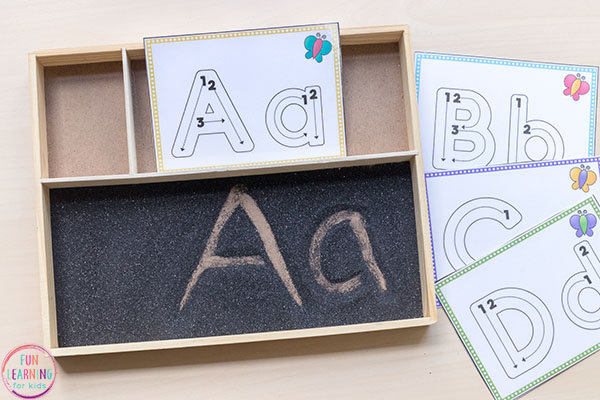 Letter formation sand writing tray.