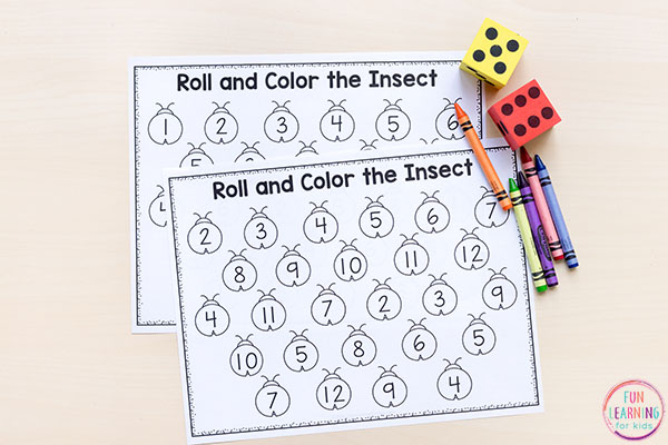 Roll and color the bug numbers game.
