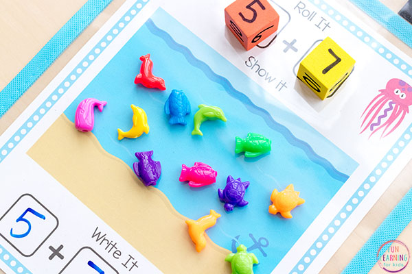 This ocean theme math activity is a fun, hands-on way to learn addition and subtraction.