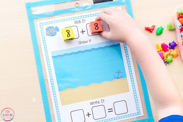 Roll it, show it, write it addition mats for kindergarten and first grade math centers.