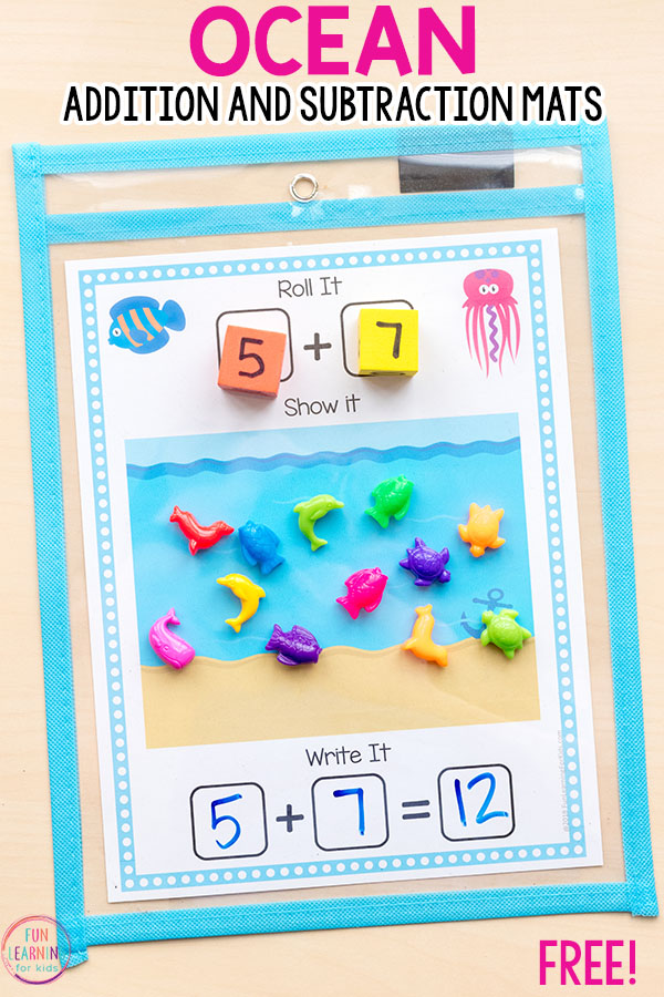 These ocean addition mats and subtraction mats are perfect for ocean theme math centers!