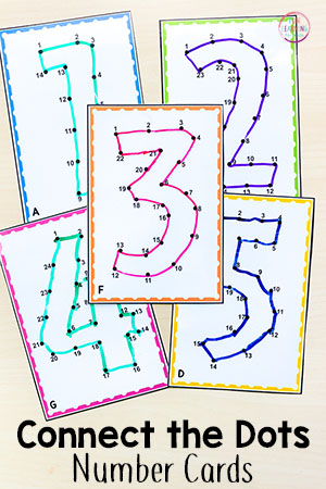 Connect the dots printable number cards for teaching number recognition and number order.
