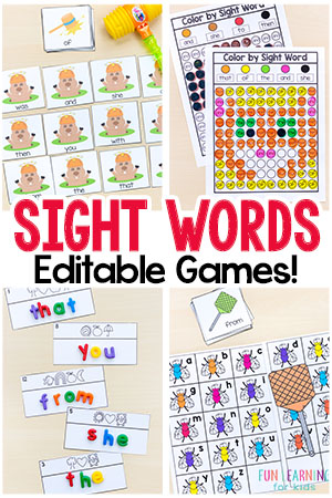 Editable sight word games that are so much fun! Just type in your words once and all of the games will auto-populate! These sight word activities are perfect for preschool and kindergarten!