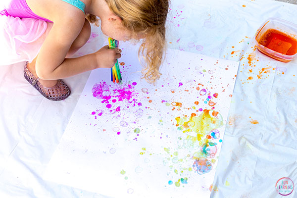 Are you looking for a fun art project for kids? Grab the bubbles and try this painting activity!