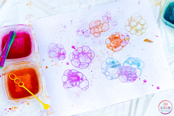 A fun bubble painting activity for kids!